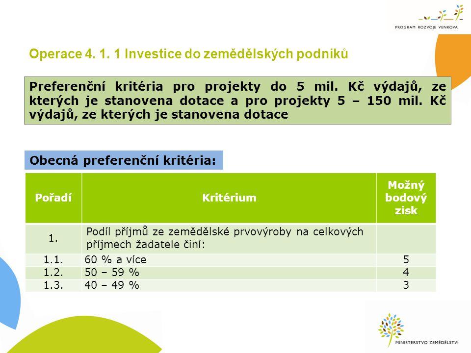 Operace 4. 1. 1 Investice do zemědělských podniků Preferenční kritéria pro projekty do 5 mil.