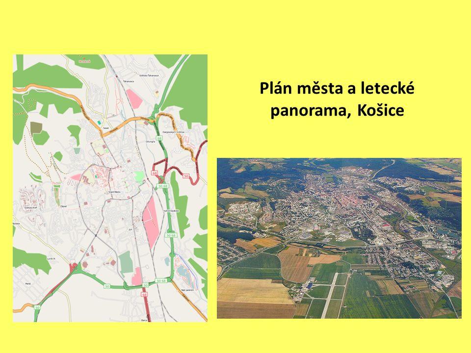 Plán města a letecké panorama, Košice