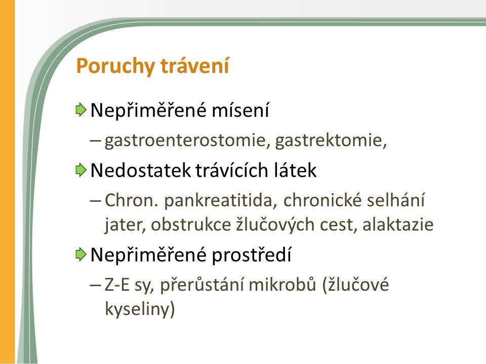 Poruchy trávení Nepřiměřené mísení – gastroenterostomie, gastrektomie, Nedostatek trávících látek – Chron.
