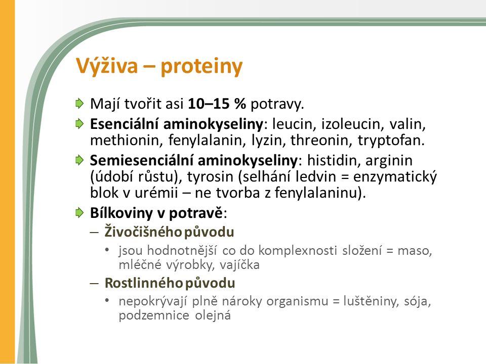 Výživa – proteiny Mají tvořit asi 10–15 % potravy. Esenciální aminokyseliny: leucin, izoleucin, valin, methionin, fenylalanin, lyzin, threonin, trypto
