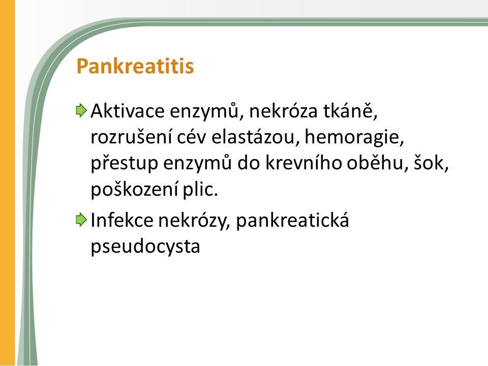 Pankreatitis Aktivace enzymů, nekróza tkáně, rozrušení cév elastázou, hemoragie, přestup enzymů do krevního oběhu, šok, poškození plic.