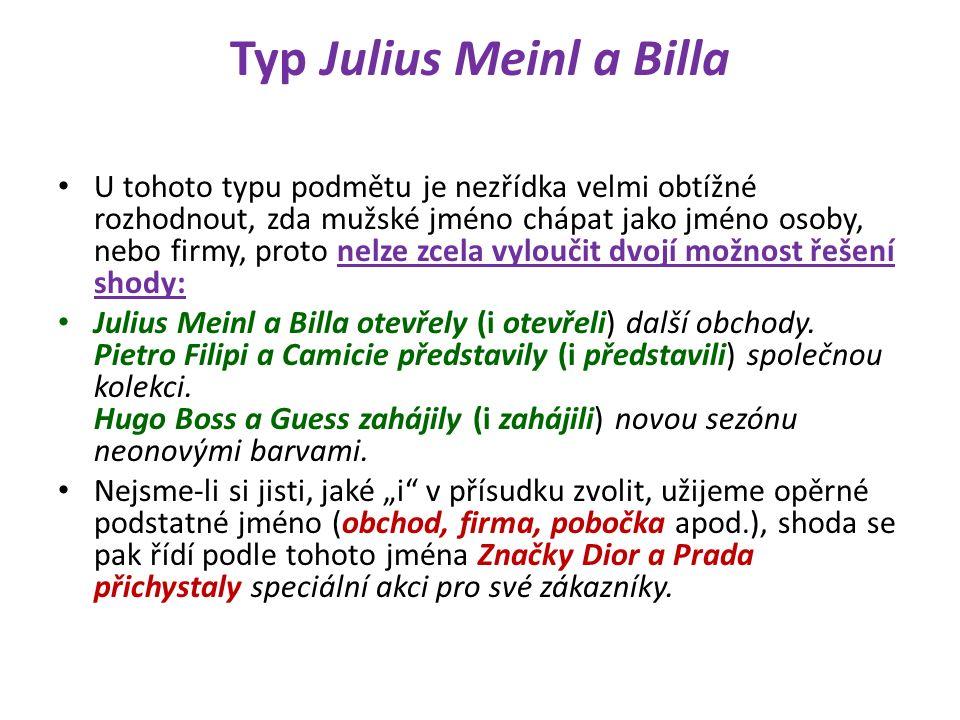 Typ Julius Meinl a Billa U tohoto typu podmětu je nezřídka velmi obtížné rozhodnout, zda mužské jméno chápat jako jméno osoby, nebo firmy, proto nelze zcela vyloučit dvojí možnost řešení shody: Julius Meinl a Billa otevřely (i otevřeli) další obchody.