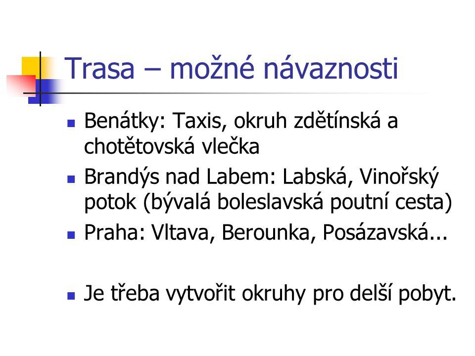 Trasa – možné návaznosti Benátky: Taxis, okruh zdětínská a chotětovská vlečka Brandýs nad Labem: Labská, Vinořský potok (bývalá boleslavská poutní cesta) Praha: Vltava, Berounka, Posázavská...