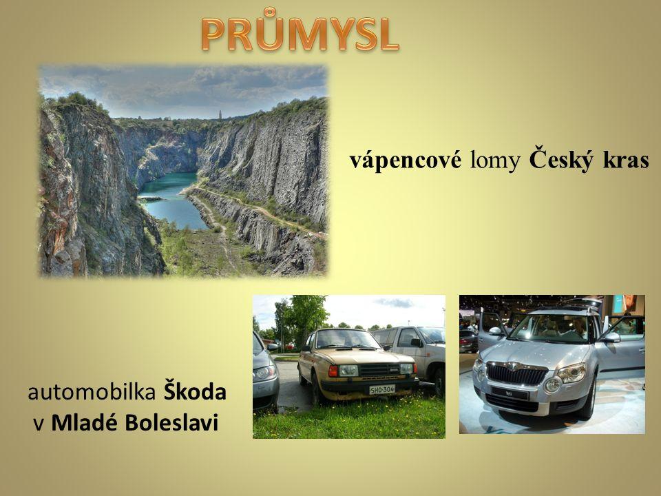 vápencové lomy Český kras automobilka Škoda v Mladé Boleslavi