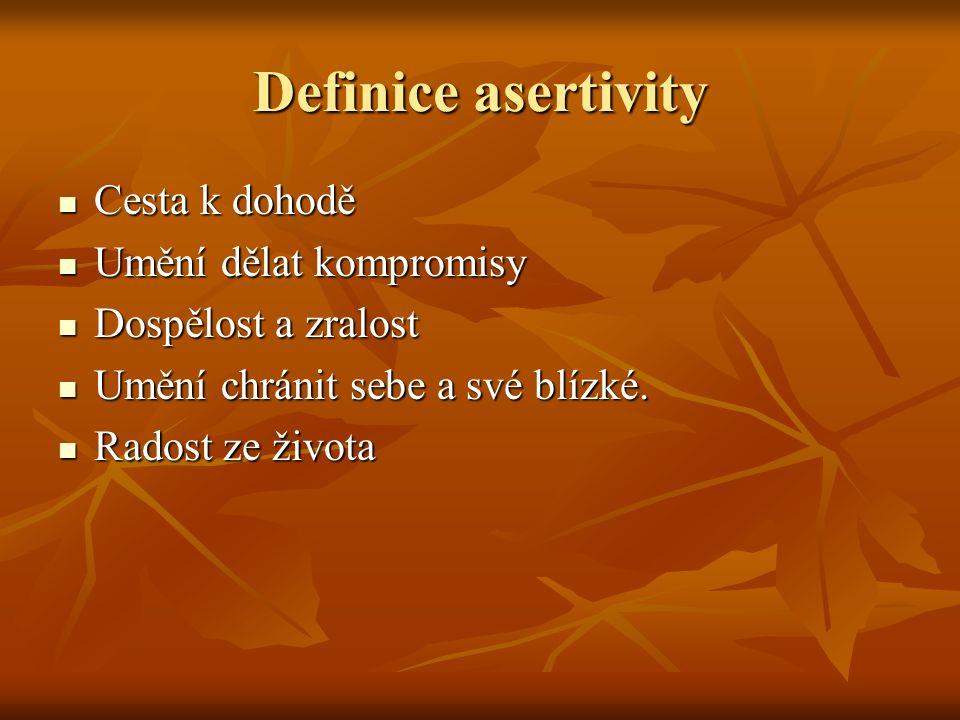 Definice asertivity Cesta k dohodě Cesta k dohodě Umění dělat kompromisy Umění dělat kompromisy Dospělost a zralost Dospělost a zralost Umění chránit sebe a své blízké.