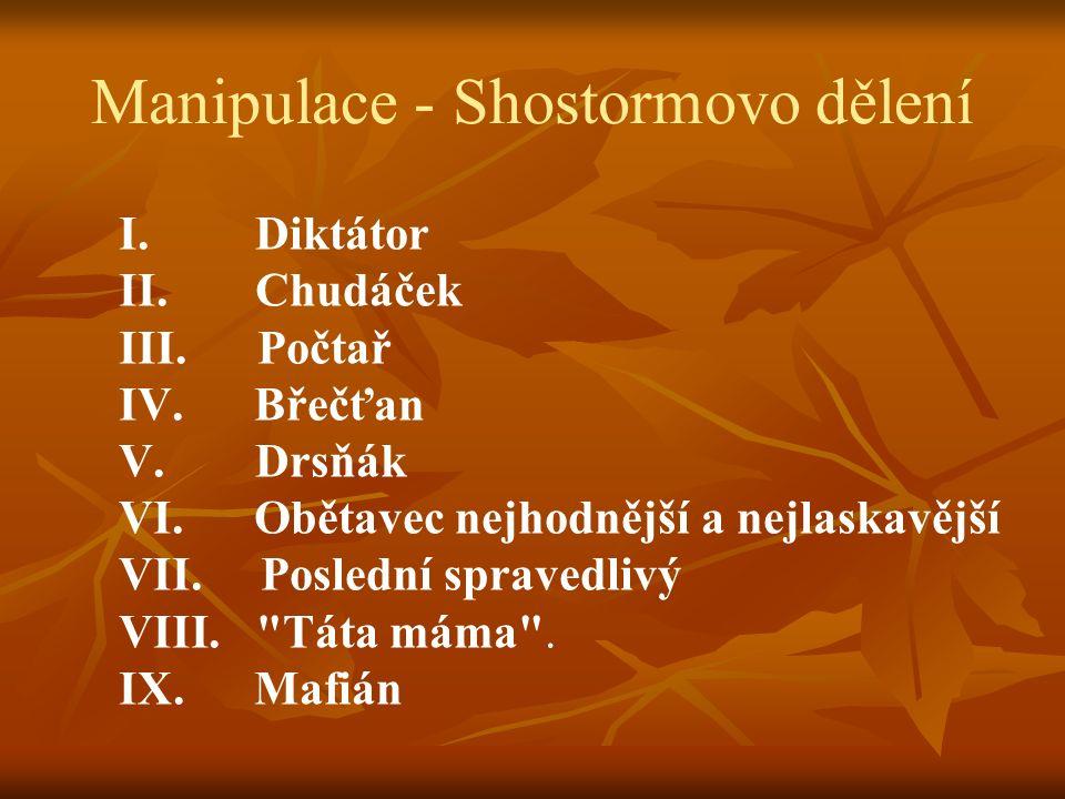 Manipulace - Shostormovo dělení I. Diktátor II. Chudáček III.