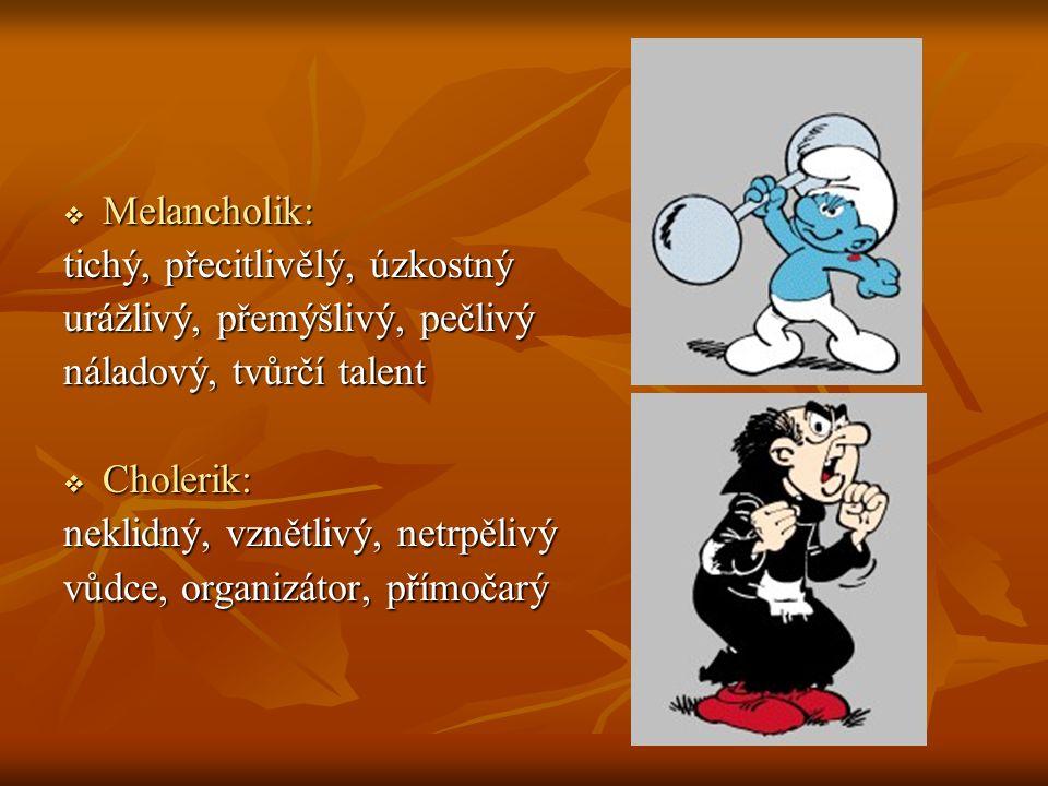  Melancholik: tichý, přecitlivělý, úzkostný urážlivý, přemýšlivý, pečlivý náladový, tvůrčí talent  Cholerik: neklidný, vznětlivý, netrpělivý vůdce, organizátor, přímočarý