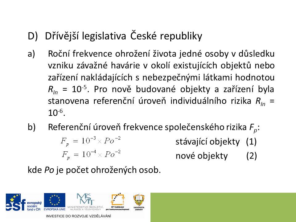 D)Dřívější legislativa České republiky a)Roční frekvence ohrožení života jedné osoby v důsledku vzniku závažné havárie v okolí existujících objektů nebo zařízení nakládajících s nebezpečnými látkami hodnotou R In = 10 -5.