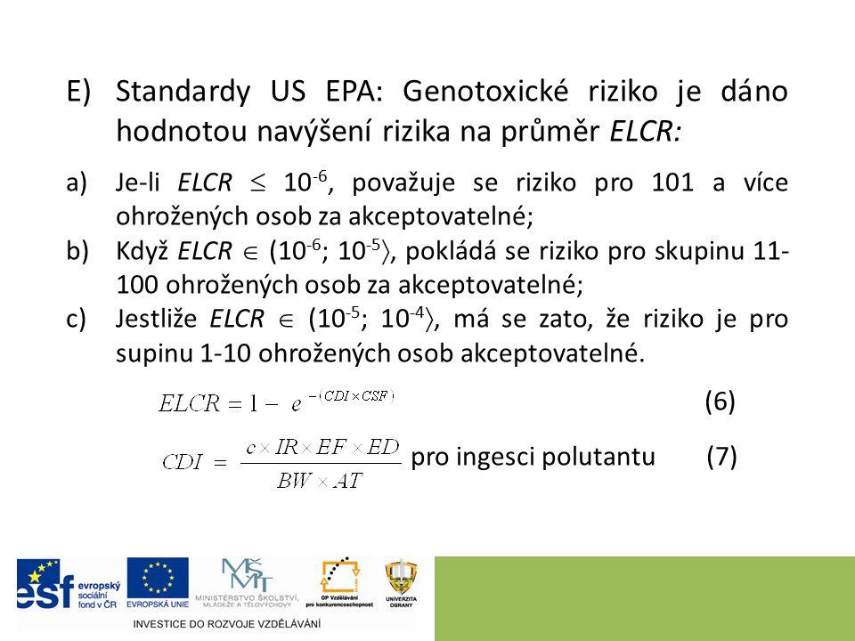 E)Standardy US EPA: Genotoxické riziko je dáno hodnotou navýšení rizika na průměr ELCR: a)Je-li ELCR  10 -6, považuje se riziko pro 101 a více ohrožených osob za akceptovatelné; b)Když ELCR  (10 -6 ; 10 -5 , pokládá se riziko pro skupinu 11- 100 ohrožených osob za akceptovatelné; c)Jestliže ELCR  (10 -5 ; 10 -4 , má se zato, že riziko je pro supinu 1-10 ohrožených osob akceptovatelné.