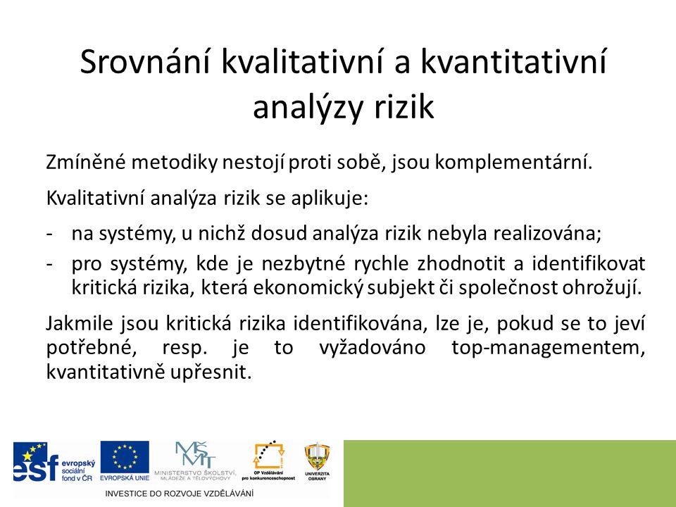 Srovnání kvalitativní a kvantitativní analýzy rizik Zmíněné metodiky nestojí proti sobě, jsou komplementární.