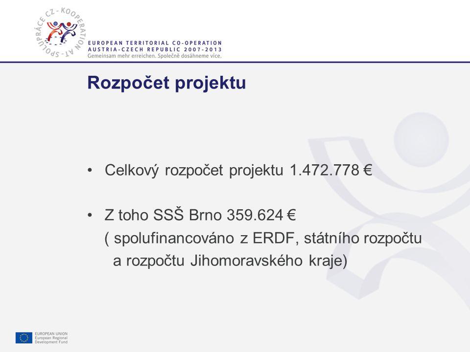 Gemeinsam mehr erreichen. Společně dosáhneme více. 4 Rozpočet projektu Celkový rozpočet projektu 1.472.778 € Z toho SSŠ Brno 359.624 € ( spolufinancov