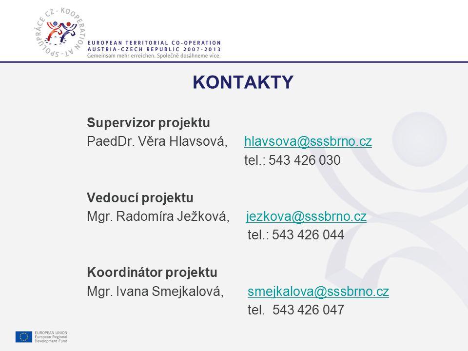 Gemeinsam mehr erreichen. Společně dosáhneme více. 9 KONTAKTY Supervizor projektu PaedDr. Věra Hlavsová, hlavsova@sssbrno.czhlavsova@sssbrno.cz tel.: