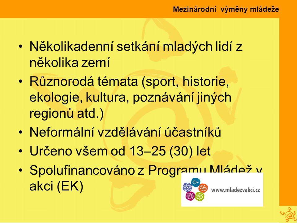 Mezinárodní výměny mládeže Několikadenní setkání mladých lidí z několika zemí Různorodá témata (sport, historie, ekologie, kultura, poznávání jiných regionů atd.) Neformální vzdělávání účastníků Určeno všem od 13–25 (30) let Spolufinancováno z Programu Mládež v akci (EK)