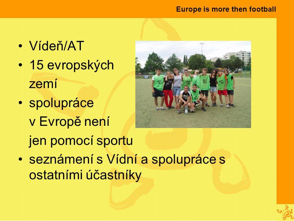 Europe is more then football Vídeň/AT 15 evropských zemí spolupráce v Evropě není jen pomocí sportu seznámení s Vídní a spolupráce s ostatními účastníky