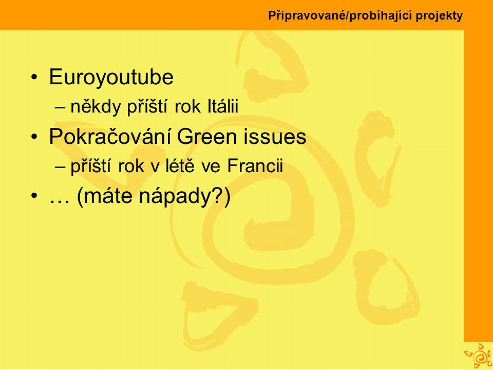 Připravované/probíhající projekty Euroyoutube –někdy příští rok Itálii Pokračování Green issues –příští rok v létě ve Francii … (máte nápady?)