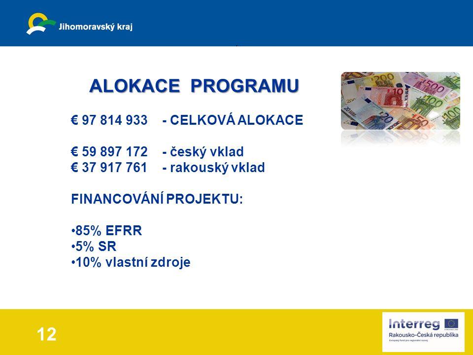 12 ALOKACE PROGRAMU ALOKACE PROGRAMU € 97 814 933 - CELKOVÁ ALOKACE € 59 897 172 - český vklad € 37 917 761 - rakouský vklad FINANCOVÁNÍ PROJEKTU: 85% EFRR 5% SR 10% vlastní zdroje