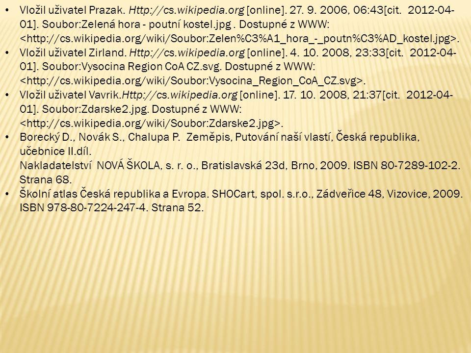 Vložil uživatel Prazak. Http://cs.wikipedia.org [online]. 27. 9. 2006, 06:43[cit. 2012-04- 01]. Soubor:Zelená hora - poutní kostel.jpg. Dostupné z WWW