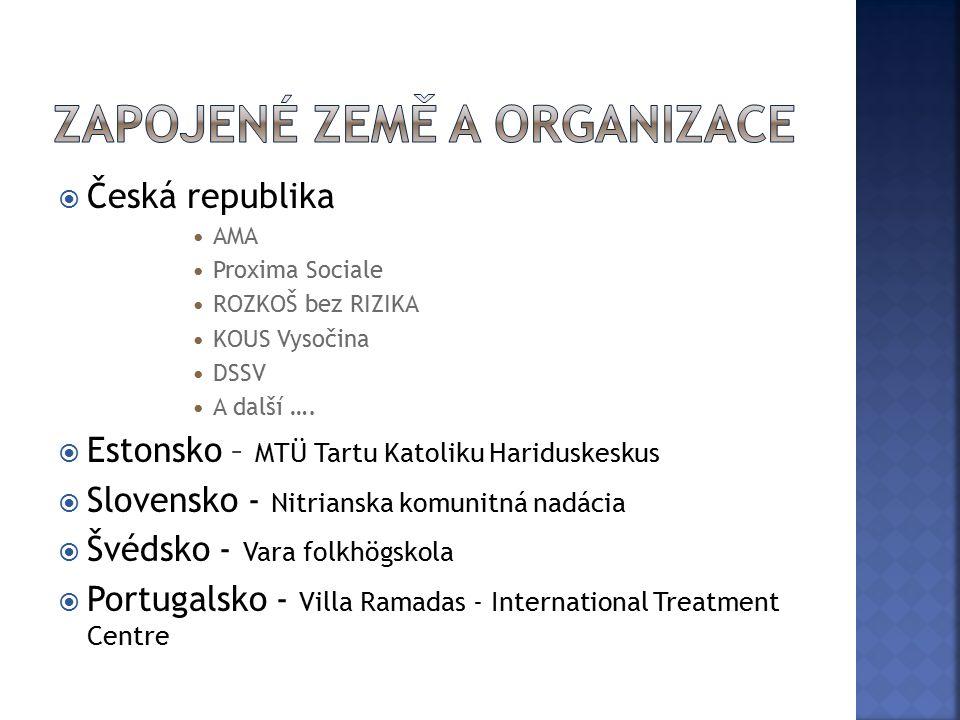  A1 – návštěva Slovensko  A2 – návštěva Estonsko  A3 – návštěva Švédsko  A4 – návštěva Portugalsko  A5- seminář v ČR za účasti zahraničních partnerů a zástupců NNO – metody pro práci s mládeží, testování, stanovení TOP metod
