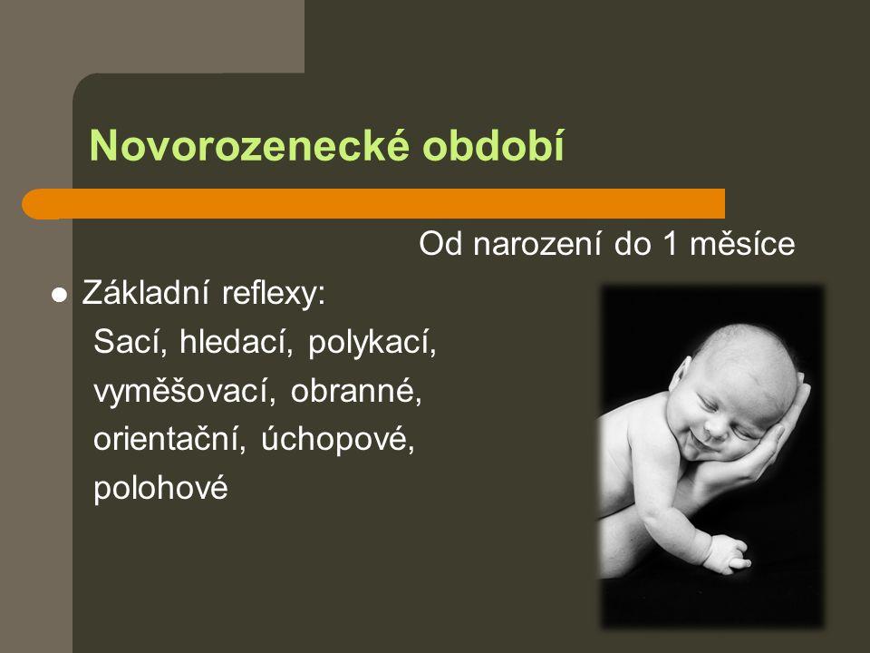 Novorozenecké období Od narození do 1 měsíce Základní reflexy: Sací, hledací, polykací, vyměšovací, obranné, orientační, úchopové, polohové