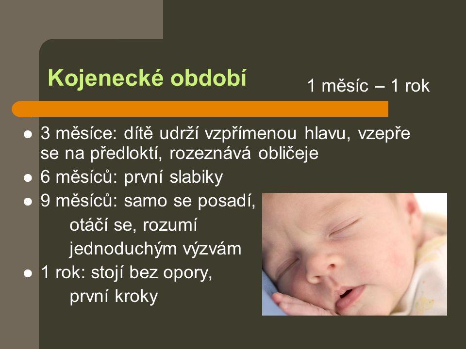 Kojenecké období 1 měsíc – 1 rok 3 měsíce: dítě udrží vzpřímenou hlavu, vzepře se na předloktí, rozeznává obličeje 6 měsíců: první slabiky 9 měsíců: samo se posadí, otáčí se, rozumí jednoduchým výzvám 1 rok: stojí bez opory, první kroky