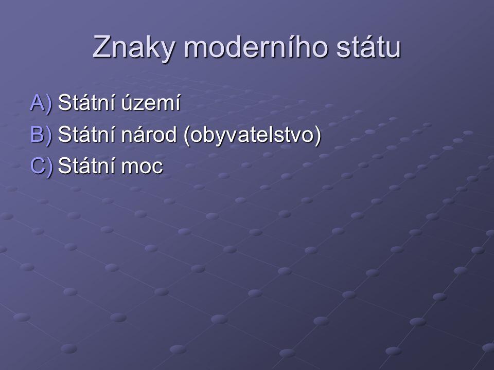 Znaky moderního státu A)Státní území B)Státní národ (obyvatelstvo) C)Státní moc