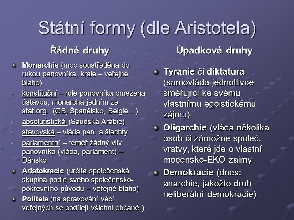 Státní formy (dle Aristotela) Řádné druhy Monarchie (moc soustředěna do rukou panovníka, krále – veřejné blaho) -konstituční – role panovníka omezena ústavou, monarcha jedním ze stát.org.