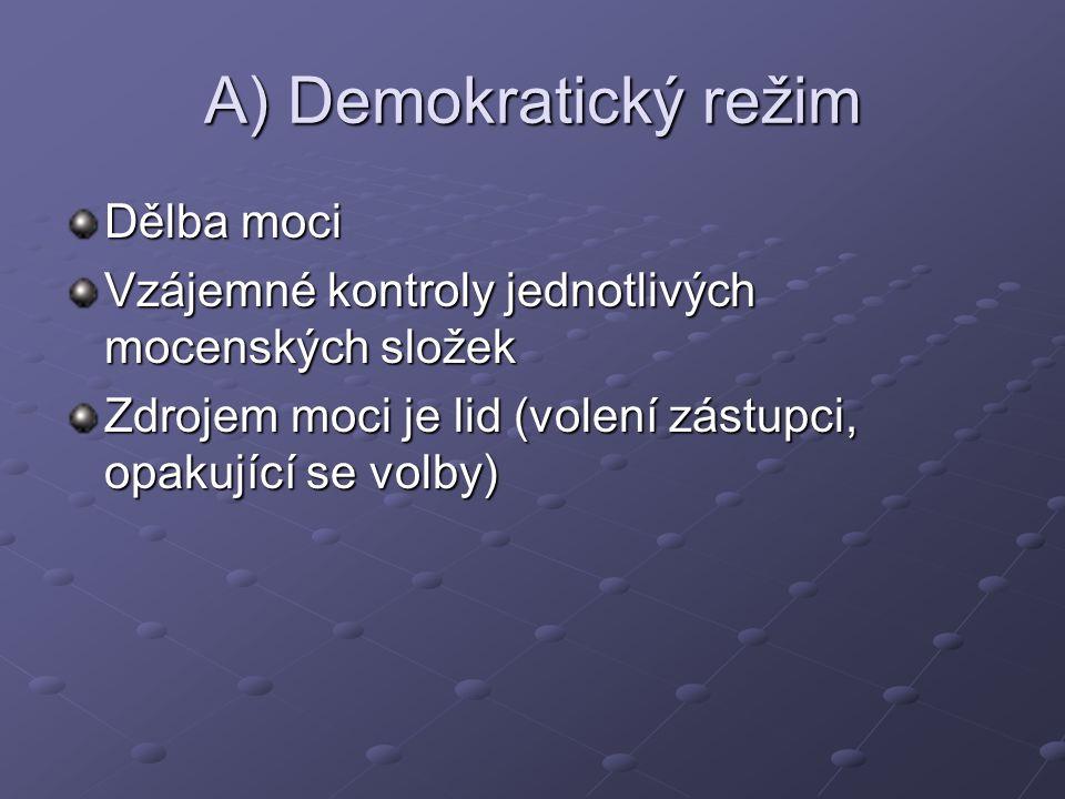 A) Demokratický režim Dělba moci Vzájemné kontroly jednotlivých mocenských složek Zdrojem moci je lid (volení zástupci, opakující se volby)