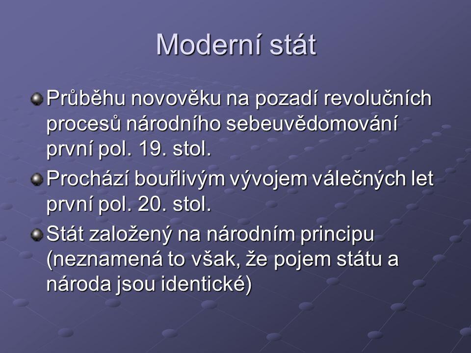 Moderní stát Průběhu novověku na pozadí revolučních procesů národního sebeuvědomování první pol.