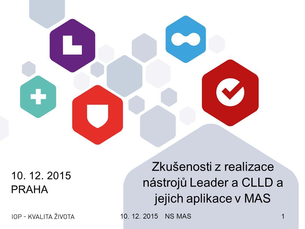 10. 12. 2015 PRAHA Zkušenosti z realizace nástrojů Leader a CLLD a jejich aplikace v MAS 10.