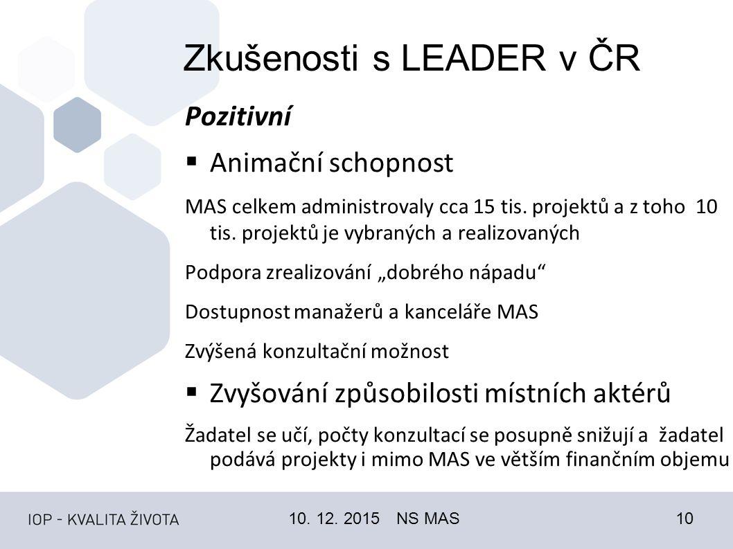 Zkušenosti s LEADER v ČR Pozitivní  Animační schopnost MAS celkem administrovaly cca 15 tis.