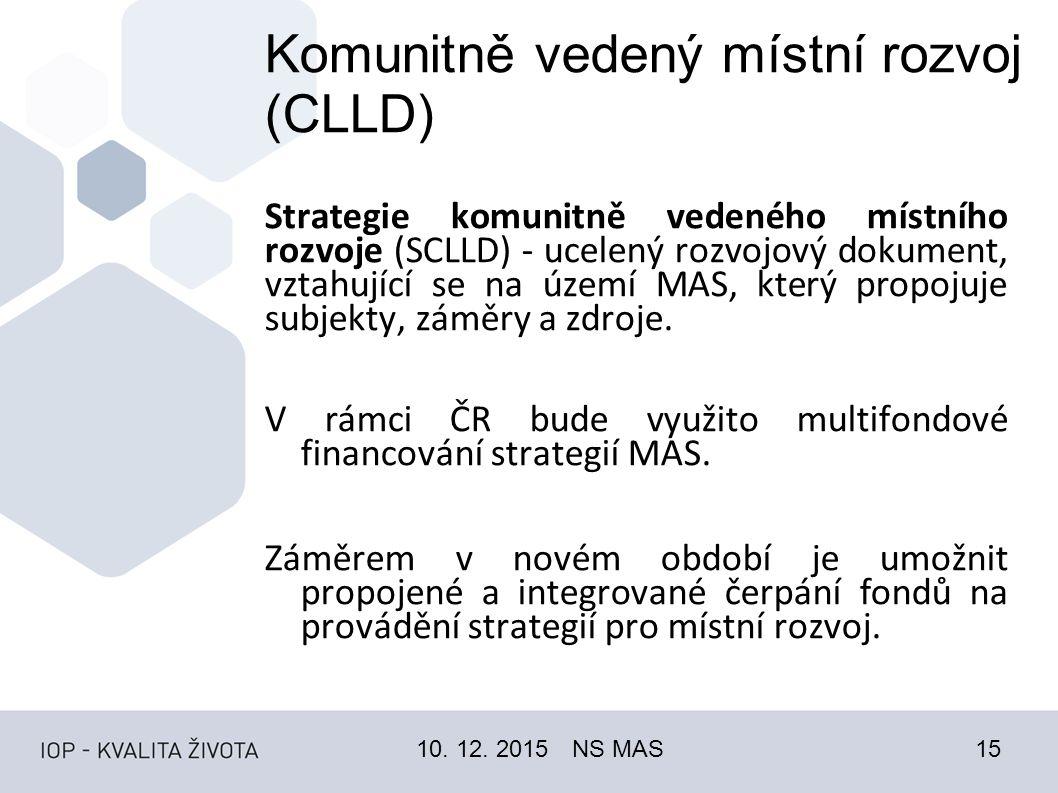 Komunitně vedený místní rozvoj (CLLD) Strategie komunitně vedeného místního rozvoje (SCLLD) - ucelený rozvojový dokument, vztahující se na území MAS, který propojuje subjekty, záměry a zdroje.