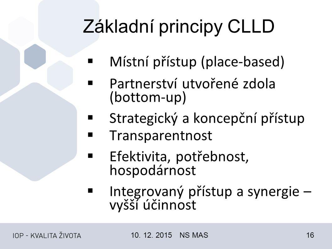 Základní principy CLLD  Místní přístup (place-based)  Partnerství utvořené zdola (bottom-up)  Strategický a koncepční přístup  Transparentnost  Efektivita, potřebnost, hospodárnost  Integrovaný přístup a synergie – vyšší účinnost 10.