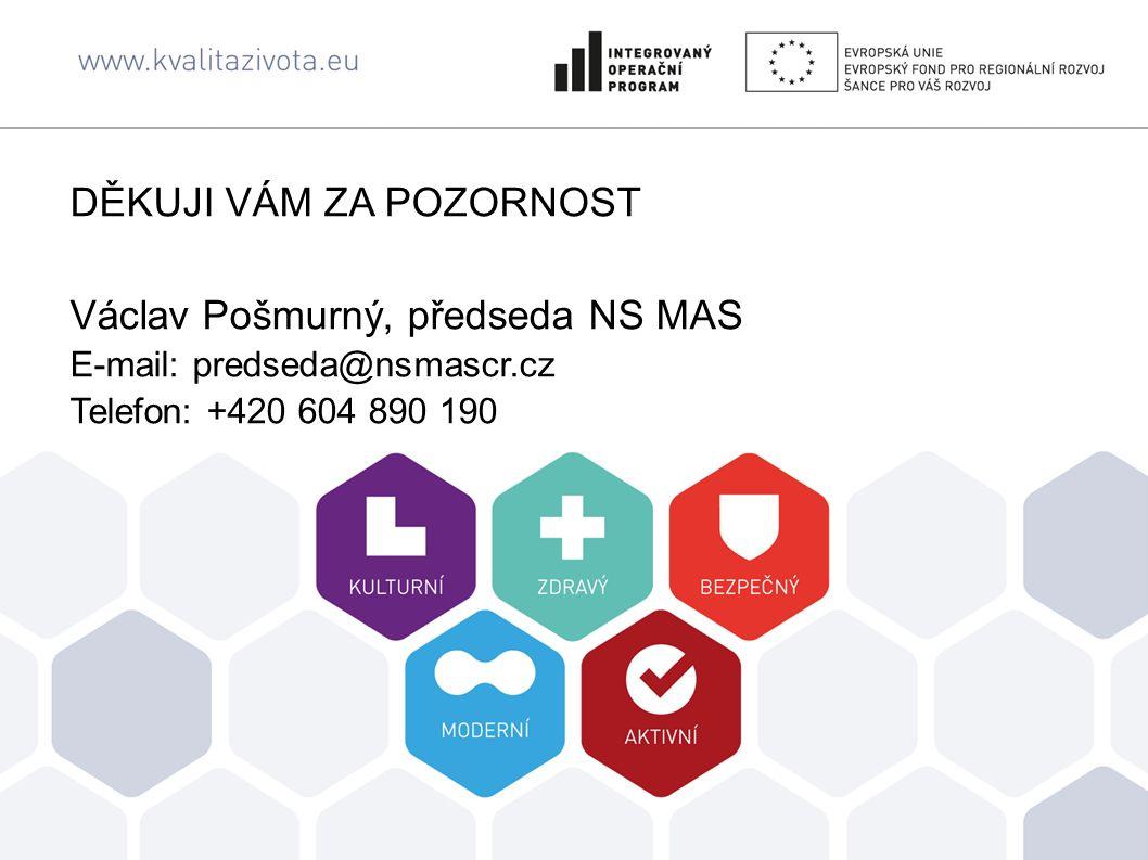 DĚKUJI VÁM ZA POZORNOST Václav Pošmurný, předseda NS MAS E-mail: predseda@nsmascr.cz Telefon: +420 604 890 190