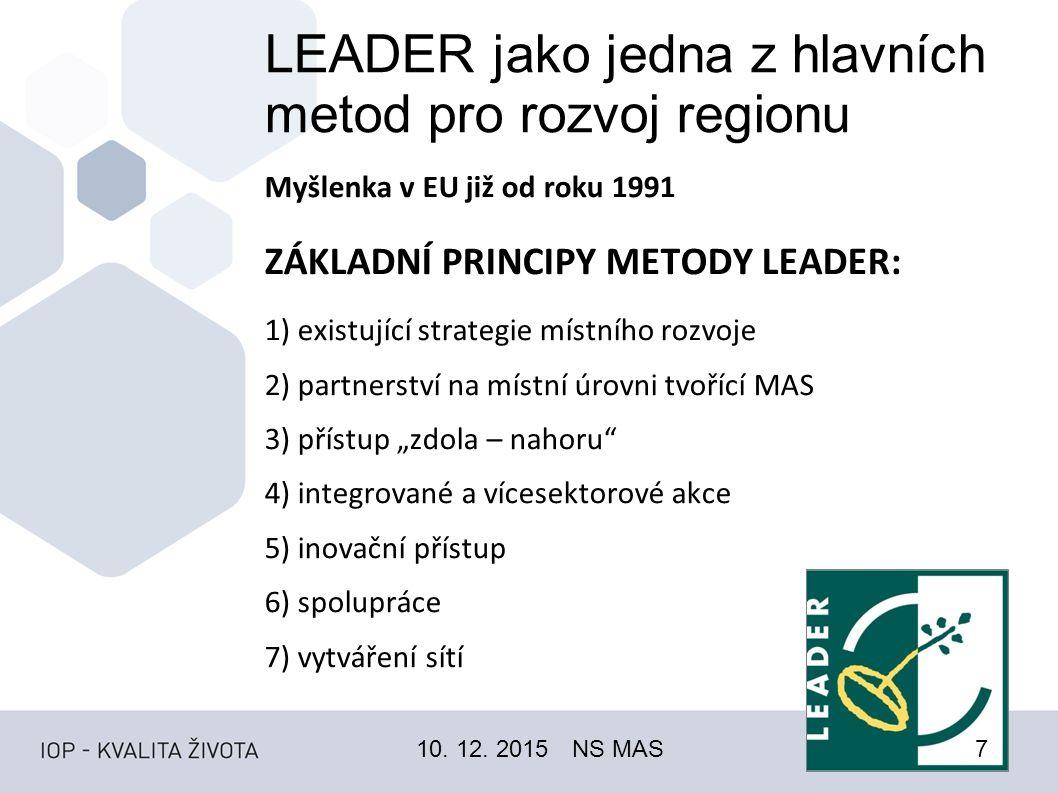 """LEADER jako jedna z hlavních metod pro rozvoj regionu Myšlenka v EU již od roku 1991 ZÁKLADNÍ PRINCIPY METODY LEADER: 1) existující strategie místního rozvoje 2) partnerství na místní úrovni tvořící MAS 3) přístup """"zdola – nahoru 4) integrované a vícesektorové akce 5) inovační přístup 6) spolupráce 7) vytváření sítí 10."""
