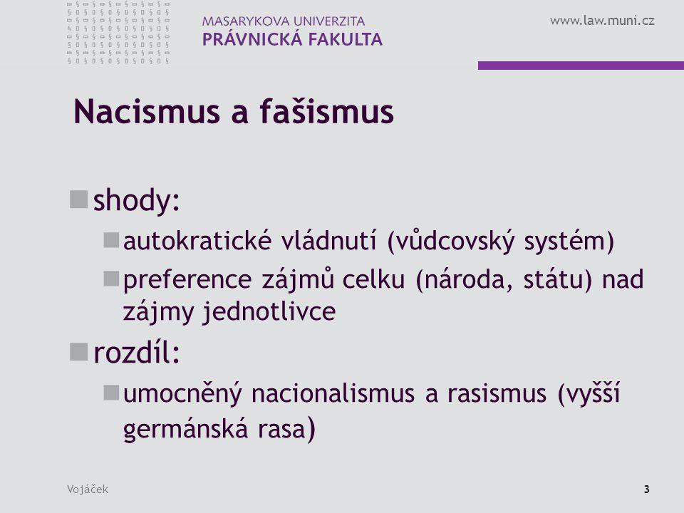 www.law.muni.cz Vojáček34 Německý nacismus NSDAP nástup nacistů k moci nastolení totalitního vůdcovského státu státní mechanismus nacistická právní filosofie soukromé právo trestní právo