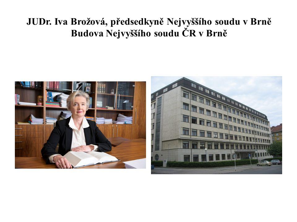 JUDr. Iva Brožová, předsedkyně Nejvyššího soudu v Brně Budova Nejvyššího soudu ČR v Brně