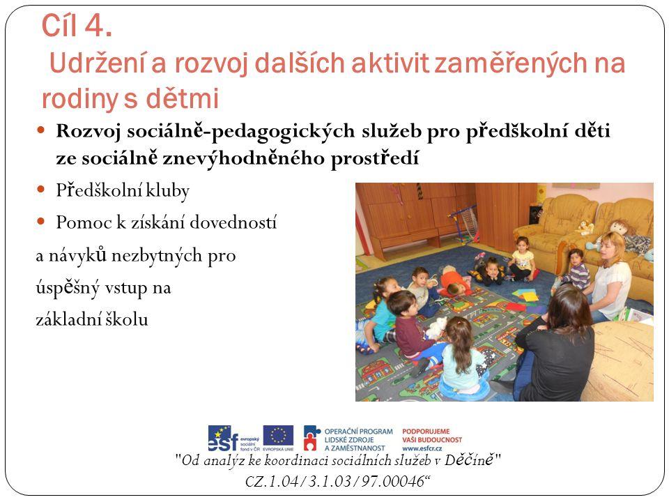 Cíl 4. Udržení a rozvoj dalších aktivit zaměřených na rodiny s dětmi Rozvoj sociáln ě -pedagogických služeb pro p ř edškolní d ě ti ze sociáln ě znevý