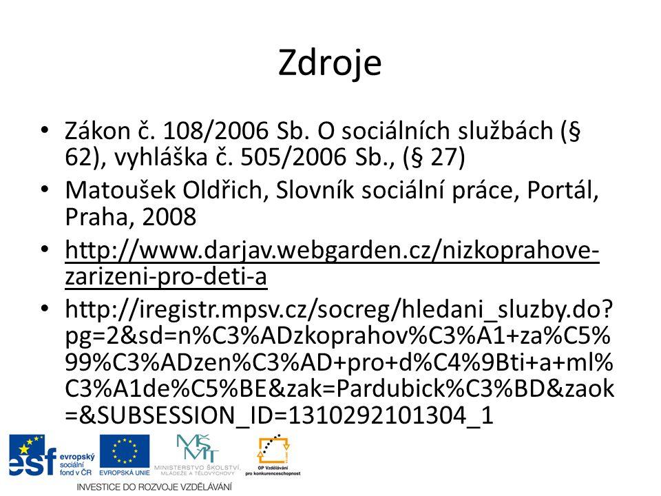 Zdroje Zákon č. 108/2006 Sb. O sociálních službách (§ 62), vyhláška č.