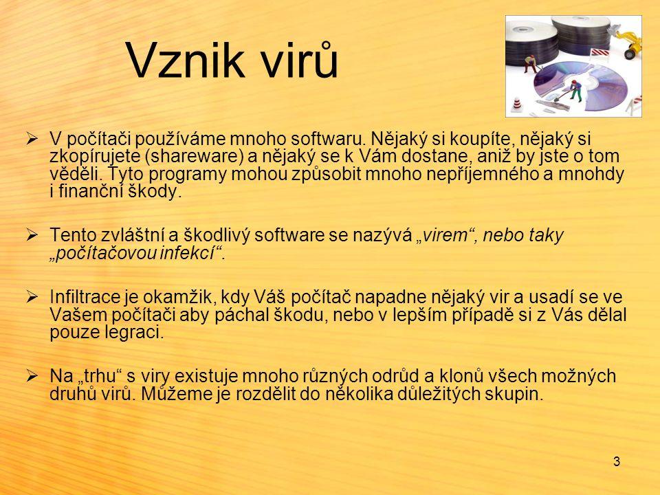 3 Vznik virů  V počítači používáme mnoho softwaru. Nějaký si koupíte, nějaký si zkopírujete (shareware) a nějaký se k Vám dostane, aniž by jste o tom