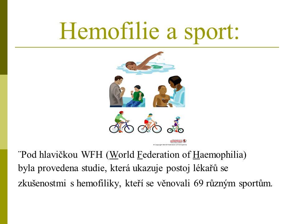 Hemofilie a sport: ¨Pod hlavičkou WFH (World Federation of Haemophilia) byla provedena studie, která ukazuje postoj lékařů se zkušenostmi s hemofiliky, kteří se věnovali 69 různým sportům.
