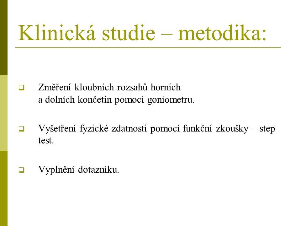 Klinická studie – metodika:  Změření kloubních rozsahů horních a dolních končetin pomocí goniometru.
