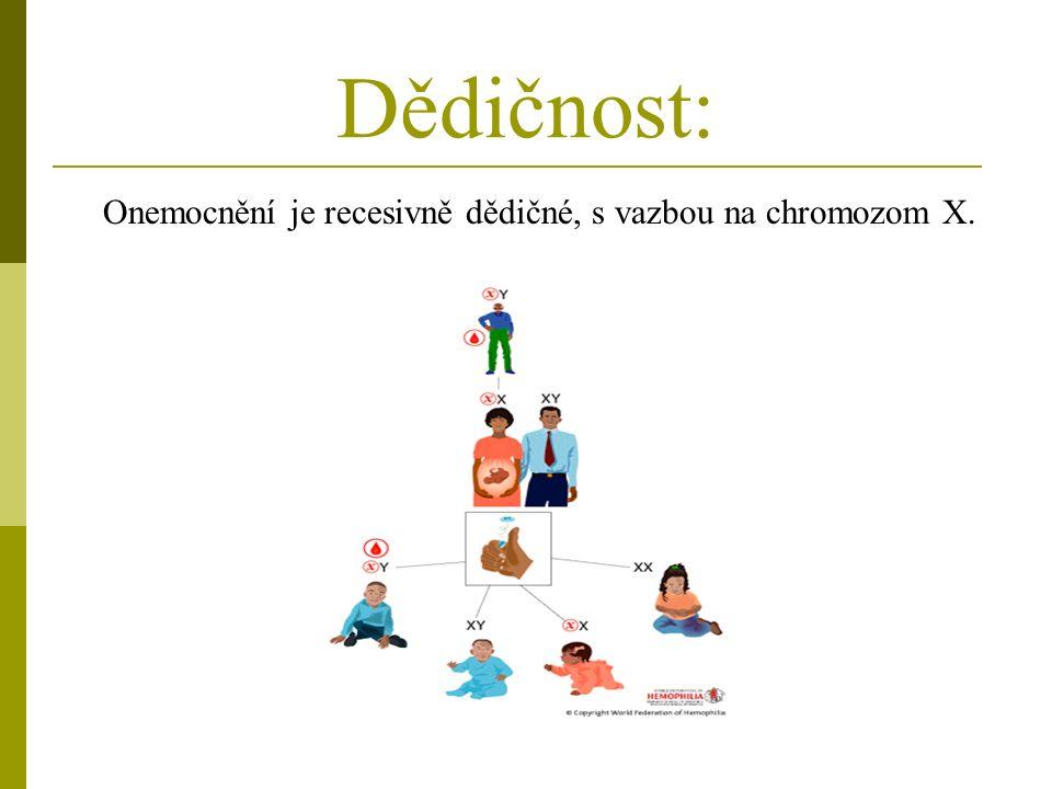 Dědičnost: Onemocnění je recesivně dědičné, s vazbou na chromozom X.