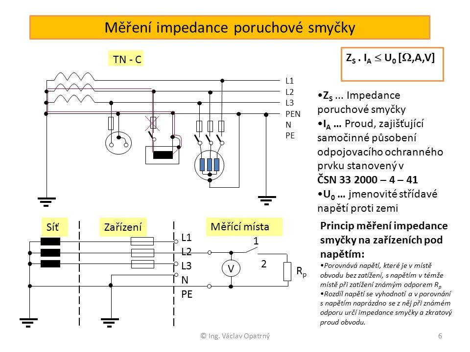 © Ing. Václav Opatrný6 Měření impedance poruchové smyčky TN - C L1 L2 L3 PEN N PE Z S.