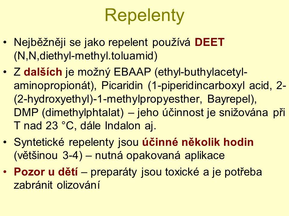 Repelenty Nejběžněji se jako repelent používá DEET (N,N,diethyl-methyl.toluamid) Z dalších je možný EBAAP (ethyl-buthylacetyl- aminopropionát), Picaridin (1-piperidincarboxyl acid, 2- (2-hydroxyethyl)-1-methylpropyesther, Bayrepel), DMP (dimethylphtalat) – jeho účinnost je snižována při T nad 23 °C, dále Indalon aj.