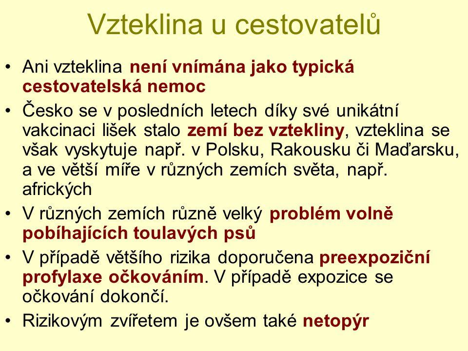 Vzteklina u cestovatelů Ani vzteklina není vnímána jako typická cestovatelská nemoc Česko se v posledních letech díky své unikátní vakcinaci lišek sta