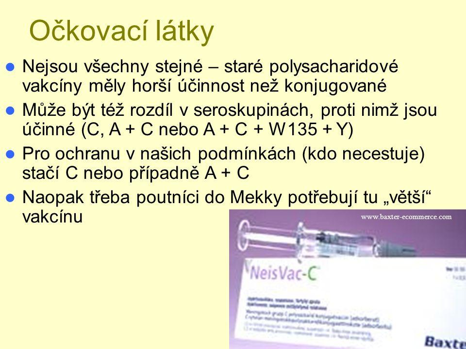 """Očkovací látky Nejsou všechny stejné – staré polysacharidové vakcíny měly horší účinnost než konjugované Může být též rozdíl v seroskupinách, proti nimž jsou účinné (C, A + C nebo A + C + W135 + Y) Pro ochranu v našich podmínkách (kdo necestuje) stačí C nebo případně A + C Naopak třeba poutníci do Mekky potřebují tu """"větší vakcínu www.baxter-ecommerce.com"""