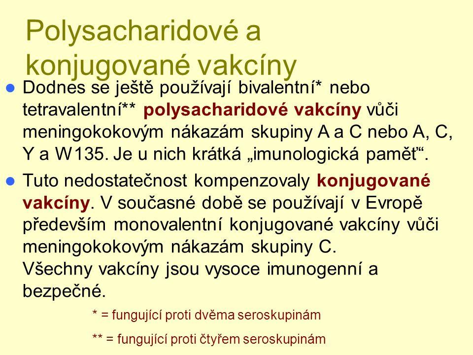 Polysacharidové a konjugované vakcíny Dodnes se ještě používají bivalentní* nebo tetravalentní** polysacharidové vakcíny vůči meningokokovým nákazám skupiny A a C nebo A, C, Y a W135.