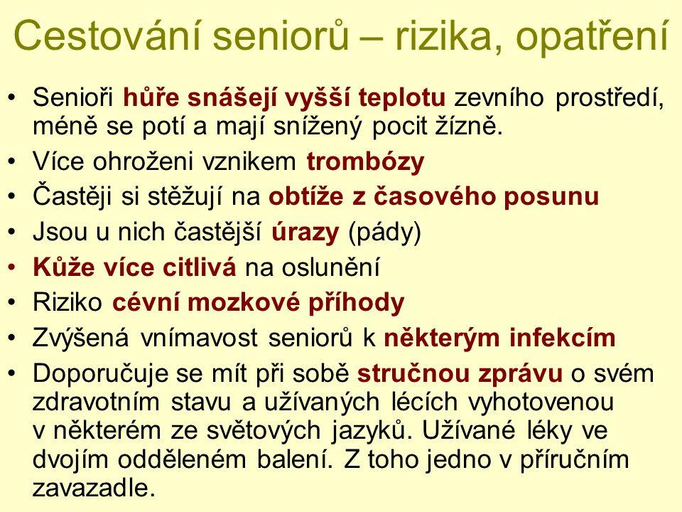 Přehled antimalarik k profylaxi Chlorochin (PLAQUENIL) – 2 tbl./týden –začít 1 – 2 týdny před a pokračovat 4 týdny po návrat –děti, těhotné ženy – není omezení Proguanil (PALUDRINE) – 2 tbl./den –začít 1-2 dny před a pokračovat 4 týdny po návratu –děti, těhotné ženy – není omezení Meflochin (LARIAM) – 1 tbl./týden –začít 2 týdny před a pokračovat 4 týdny po návratu –děti nad 5 kg, KI v 1.