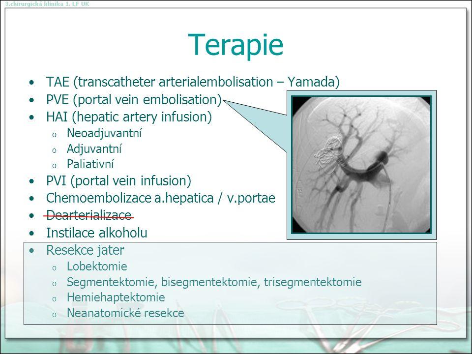Terapie TAE (transcatheter arterialembolisation – Yamada) PVE (portal vein embolisation) HAI (hepatic artery infusion) o Neoadjuvantní o Adjuvantní o Paliativní PVI (portal vein infusion) Chemoembolizace a.hepatica / v.portae Dearterializace Instilace alkoholu Resekce jater o Lobektomie o Segmentektomie, bisegmentektomie, trisegmentektomie o Hemiehaptektomie o Neanatomické resekce