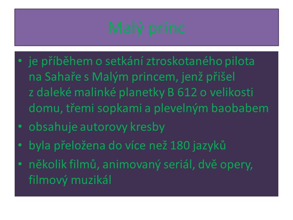 Malý princ je příběhem o setkání ztroskotaného pilota na Sahaře s Malým princem, jenž přišel z daleké malinké planetky B 612 o velikosti domu, třemi sopkami a plevelným baobabem obsahuje autorovy kresby byla přeložena do více než 180 jazyků několik filmů, animovaný seriál, dvě opery, filmový muzikál